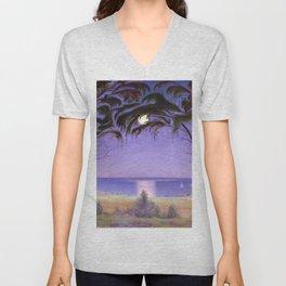 Moonlight on a Coastal Bay landscape painting by Harald Sohlberg Unisex V-Neck