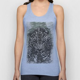 leopard black and white Unisex Tank Top