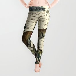 western country fairy rustic woodland nursery winter pine forest animal fox Leggings
