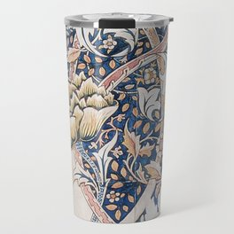 Design for Windrush by William Morris 1883 // Romanticism Blue Red Yellow Color Filled Floral Design Travel Mug