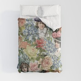 Vintage & Shabby Chic - Vintage Botanical Flower Lady with Hut Pattern Comforters