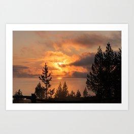Sunrise over Yellowstone Lake Photography, National Park Art, Orange Sunrise, Landscape Nature Art Print