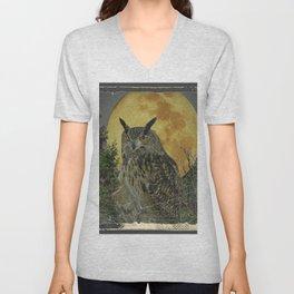 SHABBY CHIC ANTIQUE NIGHT OWL  FULL MOON Unisex V-Neck