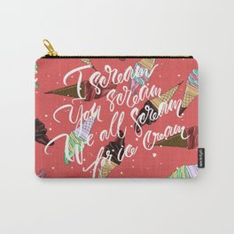 Ice Cream. Handlettering cartoon-style pop-art. Carry-All Pouch