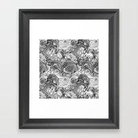 Malachite black and white Framed Art Print