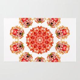 Red Floral Floklore Flower Pattern Illustration Rug