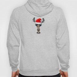 Christmas Moose Wearing a Santa Hat Hoody