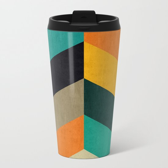 Minimalist and colorful chevron Metal Travel Mug