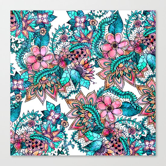 Boho turquoise pink floral watercolor illustration Canvas Print