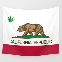 California Republic state flag with green Cannabis leaf Wall Tapestry