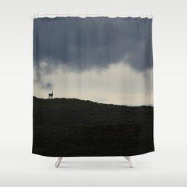 Vigilant guanaco Shower Curtain