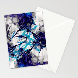 All Over Abstract Pollock Style Aqua and Blue Stationery Cards
