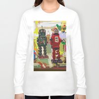 robots Long Sleeve T-shirts featuring Robots by Five Ate Five Studios