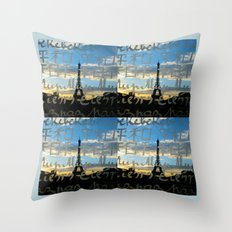 The Eiffel Tower behind the peace word - Traveling series Throw Pillow