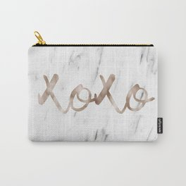 Rose gold marble XOXO Carry-All Pouch
