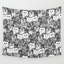 just owls black white Wall Tapestry