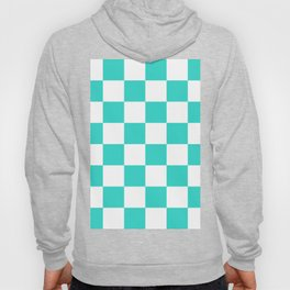 Large Checkered - White and Turquoise Hoody