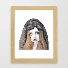Bride wearing black veil Framed Art Print