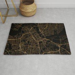 Black and gold Nashville map Rug