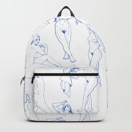 Ladies Pattern Blue Backpack