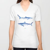 sharks V-neck T-shirts featuring Sharks by Alina Bachmann