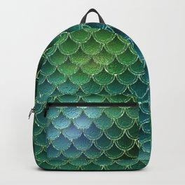 Shimmering Green Glitter Mermaid Scales Backpack