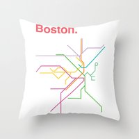 boston map Throw Pillows featuring Boston Transit Map by Ariel Wilson