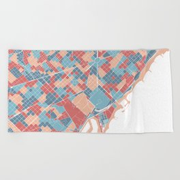 Colorful Barcelona map Beach Towel