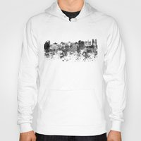 brussels Hoodies featuring Brussels skyline in black watercolor by Paulrommer