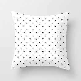 Small sketchy black hearts pattern on white background Throw Pillow