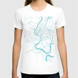 Bangkok Thailand Minimal Street Map - Turquoise and White II T-shirt
