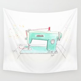 Vintage White 43-8 Sewing Machine in Aqua Wall Tapestry