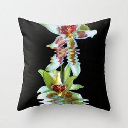 Green flowered Cymbidium Throw Pillow