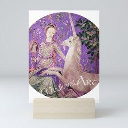 Medieval Art - Lady and the Unicorn in Purple Mini Art Print