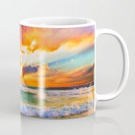 Orange Sunset Landscape Red Purple Green Sea Waves Art Coffee Mug