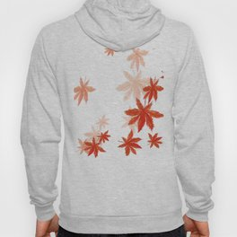 Falling red maple leaves watercolor painting Hoody
