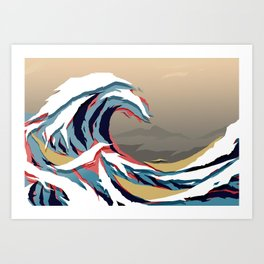 The Great Wave in Colour. Tigerstripe Camo. Art Print