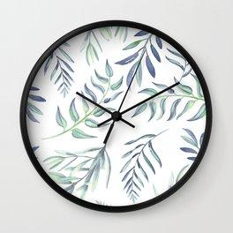 Floating Leaves Blue #society6 #buyart Wall Clock