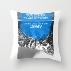 together and apart Throw Pillow