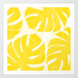Mellow Yellow Monstera Leaves White Background #decor #society6 #buyart Art Print