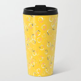 Polka Dots Stamps on Vivid Yellow Travel Mug