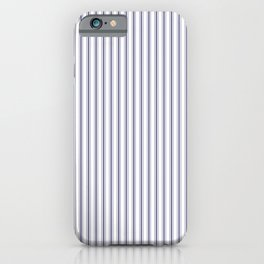 Mattress Ticking Narrow Striped Pattern in USA Flag Blue and White iPhone Case