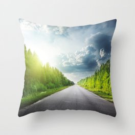 Road Through Forest Throw Pillow