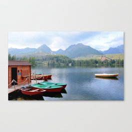 Boats on lake Canvas Print
