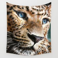 leopard Wall Tapestries featuring Leopard by Manuela Mishkova