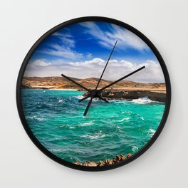 Choppy seas on Aruba's North Shore Wall Clock