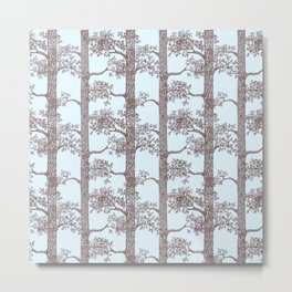 Pine Forest (Light Blue and Sepia) Metal Print