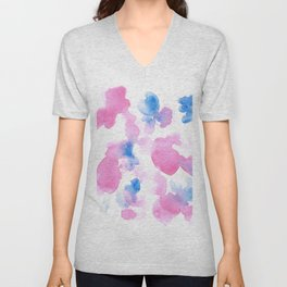 18015 Watercolour Abstract Wp 12 | Watercolor Brush Strokes Unisex V-Neck