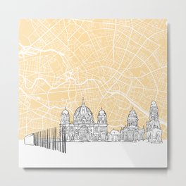 Berlin Germany Skyline Map Metal Print