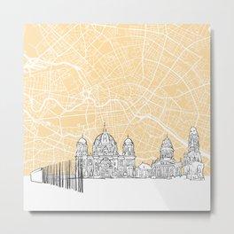 Berlin Germany Skyline Map Metal Print